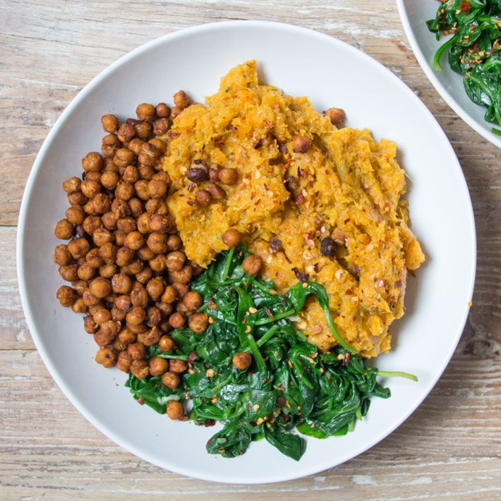 Sweet Potato & Carrot Mash Bowl with Spicy Roasted Chickpeas - warm and comforing | Deliciously Ella