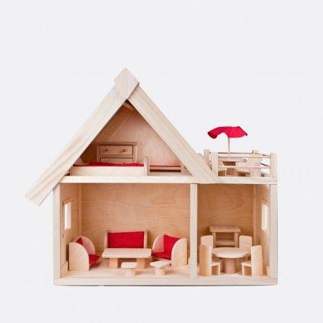 Dřevěný dům s nábytkem