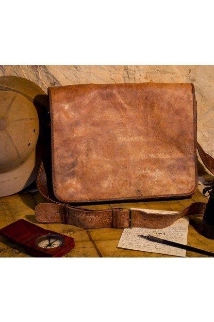 Sahara Camel Tanned Leather Bag - Mens Vintage Satchel, Messenger Leather Bags