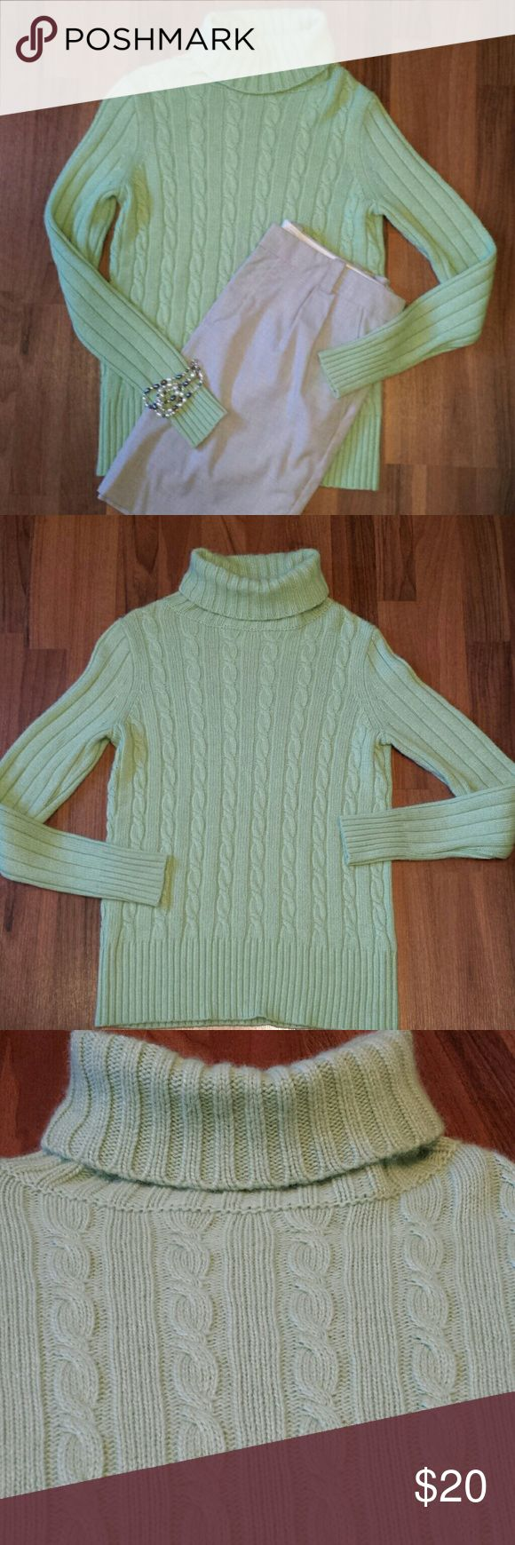 {J. Crew} Sweater This sweater is super soft & a beautiful color for Spring! Stay warm but look fresh🌼! This pretty light green will look nice with your gray, black, tan or white pants or skirts! Excellent condition, well taken care of, it's never been put into the washer or dryer. Fits true to size. 45% Viscose, 23% Nylon, 17% Wool & 15% Angora Rabbit Hair.  Measurements: Length 24, Bust 17 & Arm Length 24. Offers Welcome! J. Crew Sweaters Cowl & Turtlenecks