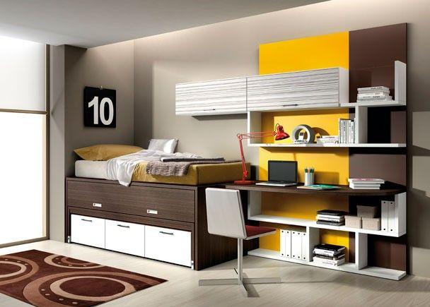 Dormitorio con cama nido con cajones inferiores camas for Cama nido compacta con cajones
