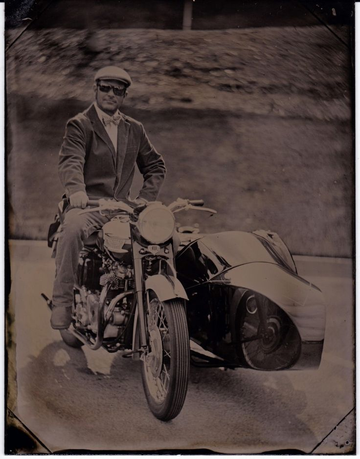 "58 year old motorbike captured using 150 year old ""tintype"" photography."
