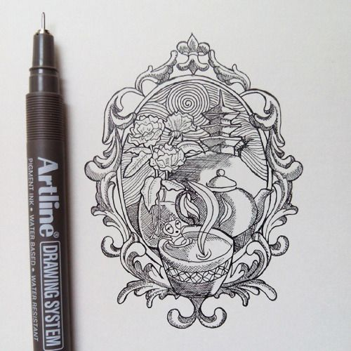 Beauty And The Beast Mirror Drawing