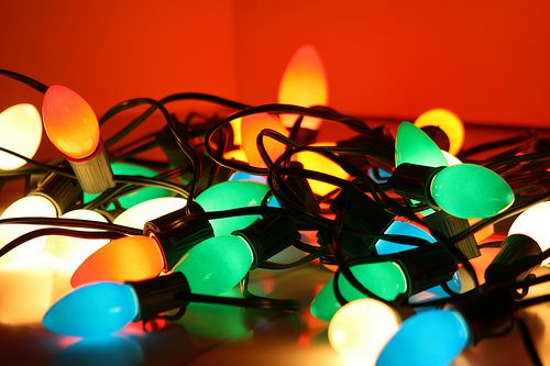 """Old Fashioned Christmas Lights: I love these and cannot imagine a proper Christmas tree without them.  Plus, how can you have bubble lights (another """"must have"""") and the whirligigs (these have to be above a hot light to work) without them?  My husband is not a fan, but he knows better than to fight me on this one. ;)"""