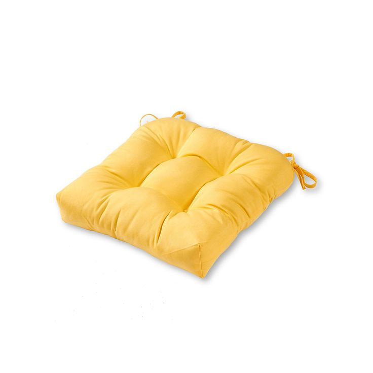 Greendale Home Fashions Square Sunbrella Outdoor Chair Pad, Yellow, Durable