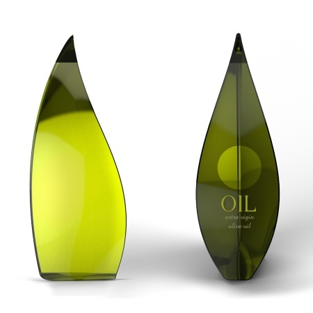 Simple design, yet effective. I love how the bottle of olive oil is shaped as an abstracted olive leaf. The green logo and text also blends in naturally with the bottle and the oil itself.