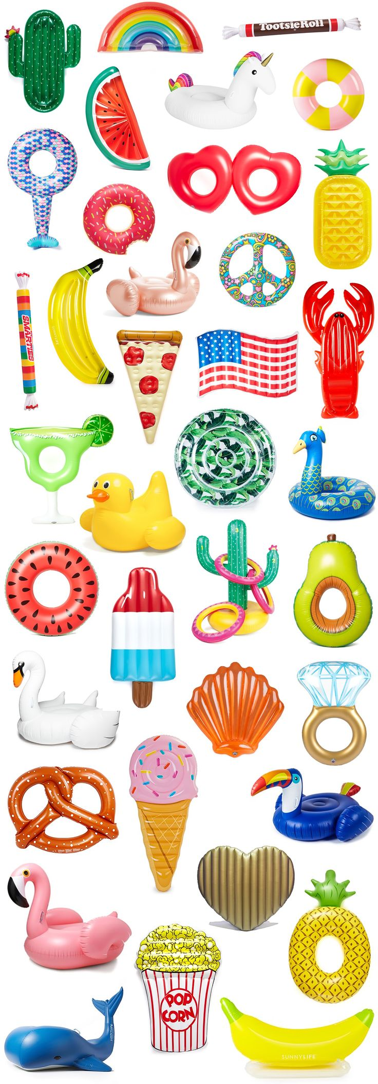 The best pool floats for Spring Break and summer vacation + how to score them at an amazing sale price! | Pool party essentials | Cute pool floats | Cactus, rainbow, flamingo, watermelon, unicorn, striped, mermaid tail, banana, rose gold flamingo, donut, donut with sprinkles, seashell, diamond ring, avocado, lobster, pineapple, heart, peace sign, margarita, swan, American flag, pizza, Tootsie roll pool float | Florida blogger Ashley Brooke Nicholas