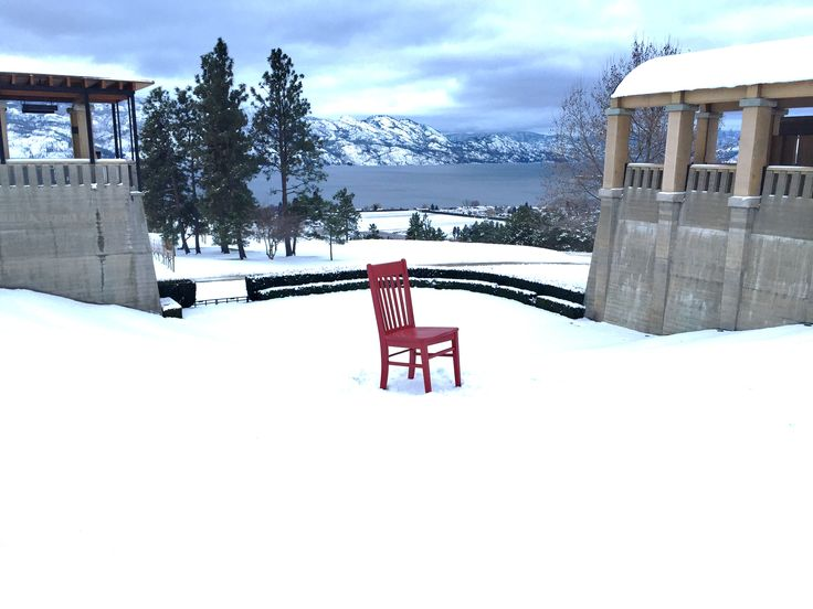 The Red Chair enjoys the view from Mission Hill Winery along The Westside Wine Trail in the Okanagan Valley www.redchairtravels.com www.kelownabandb.com
