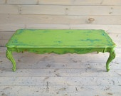 Vintage lime green coffee table (find one at a garage sale and repaint, woohooo cheap and unique!)