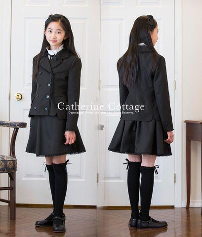 女の子スーツガールズWボタン巻きスカートスーツガールズフォーマルスーツセットブラック黒オフホワイト白入学式卒業式冠婚葬祭