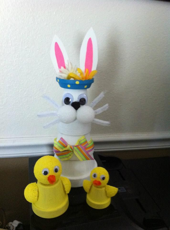My clay pot bunny and chicks.  I made these for Easter.