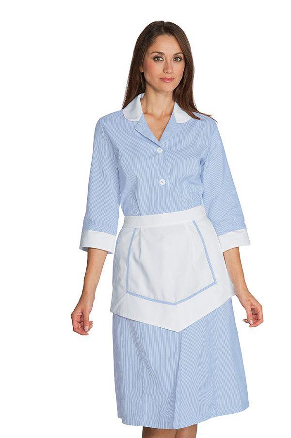 Ensemble Femme De Chambre 100% Coton Rayé Bleu / Blanc