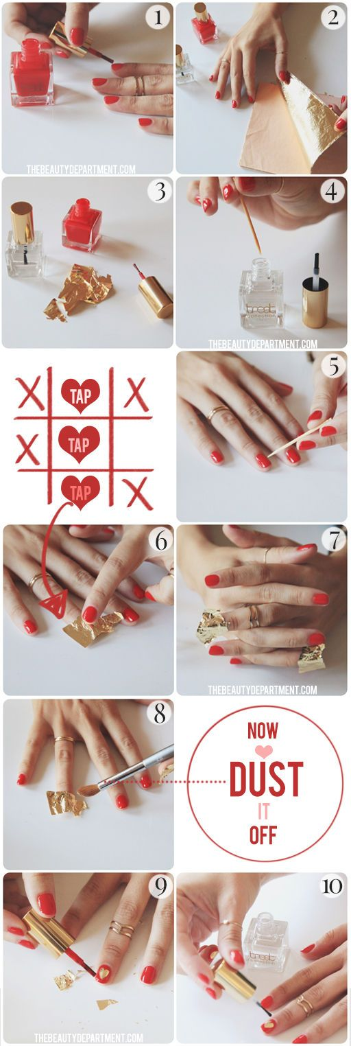 The only way to make red polish better is to put a gold leaf heart on it!
