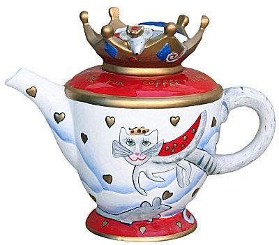 "Whimsical ""Rossi"" Royal Cat Teapot. 8 X 11 inches and in MINT CONDITION!! Says ""Time for Coffee, Time for Tea, Time for Royal Me."" on top of pot. Adorable little mouse looking down from lid. Just precious!"