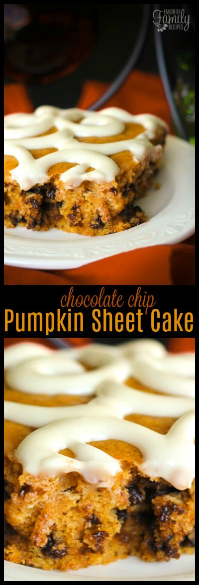 This Chocolate Chip Pumpkin Sheet Cake is the perfect recipe holiday parties! Not only does it taste amazing, but it feeds a crowd and looks pretty too. #pumpkinsheetcake #chocolatechippumpkin via @favfamilyrecipz