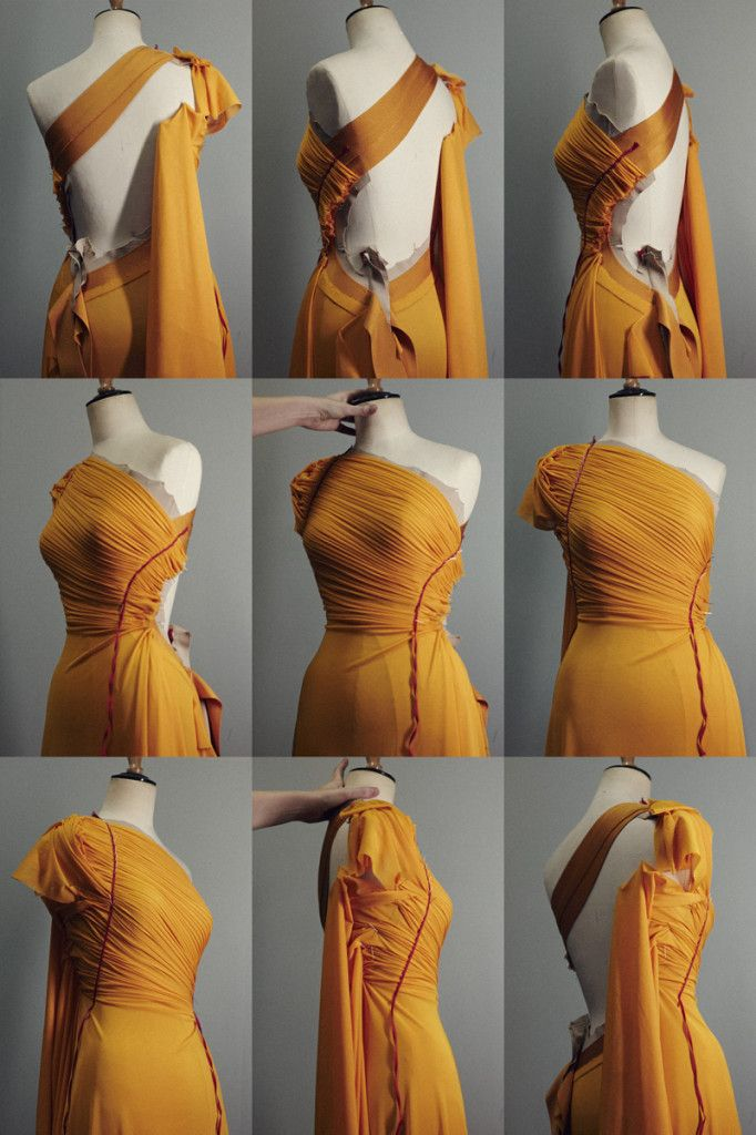 Fabric Manipulation for fashion design - narrow pleats; moulage; draping; couture sewing techniques.