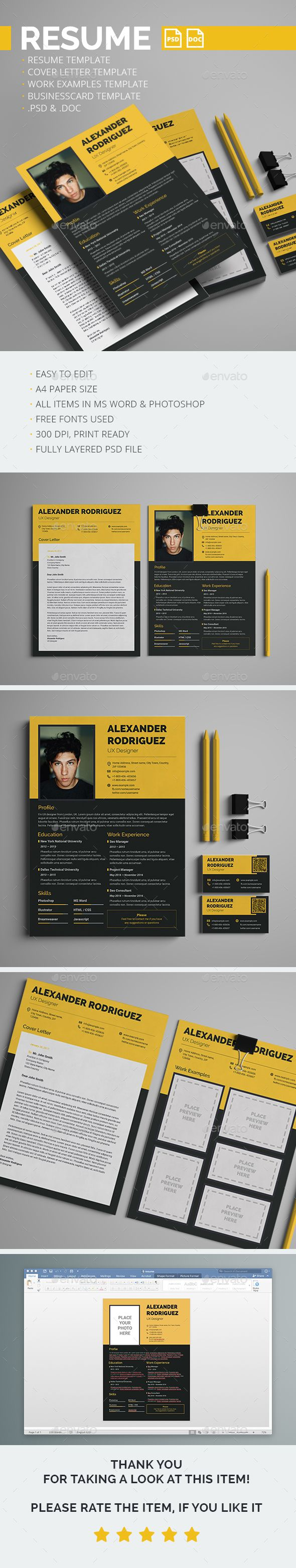 Resume, Cover letter, Work examples & Business card templates