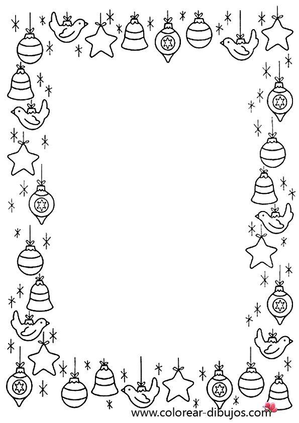 dibujo de bordes de navidad con adornos de navidad para colorear e imprimir