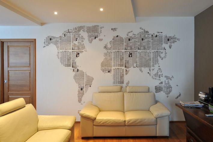 Use newspaper to make a wall design
