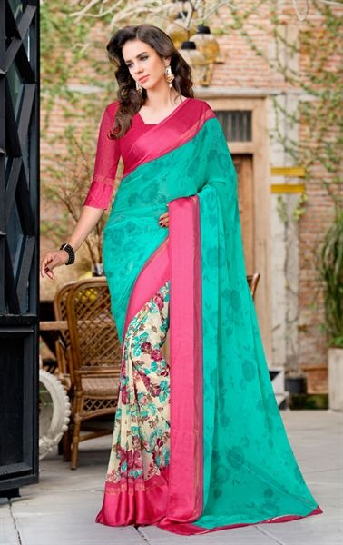 Picture of Admirable Emerald Printed Saree