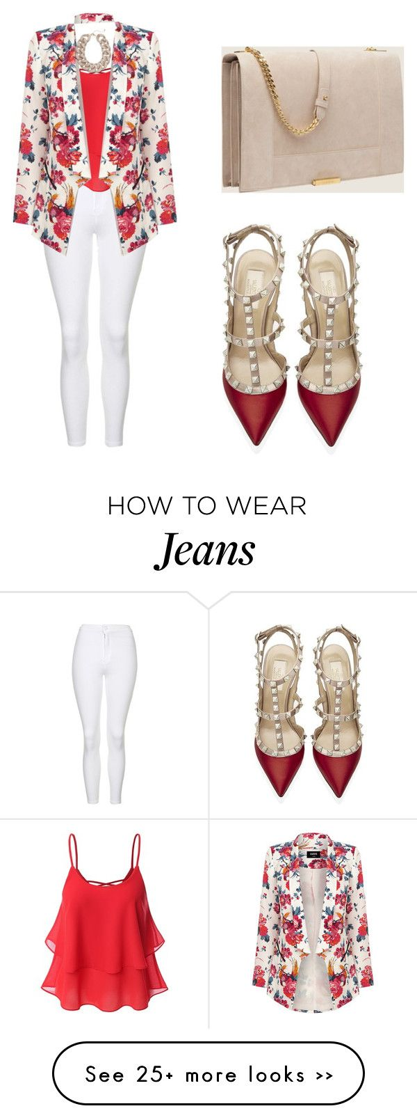 """floral red outfit"" by tania-alves on Polyvore"