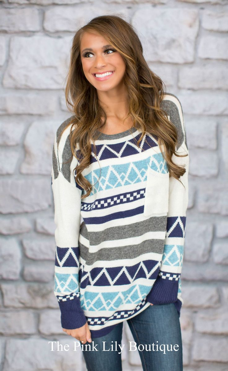 Ski Lodge Sweater Aqua - The Pink Lily Boutique
