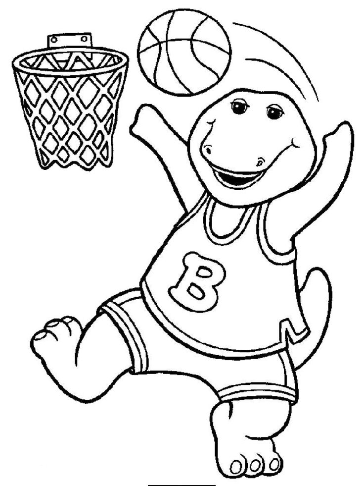 barney playing basketball coloring pages for kids printable barney coloring pages for kids - Barney Friends Coloring Pages