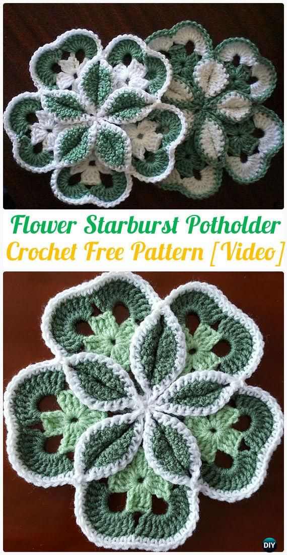 Crochet Flower Starburst Hot Pad Free Patterns - Crochet Pot Holder Hotpad Free Patterns
