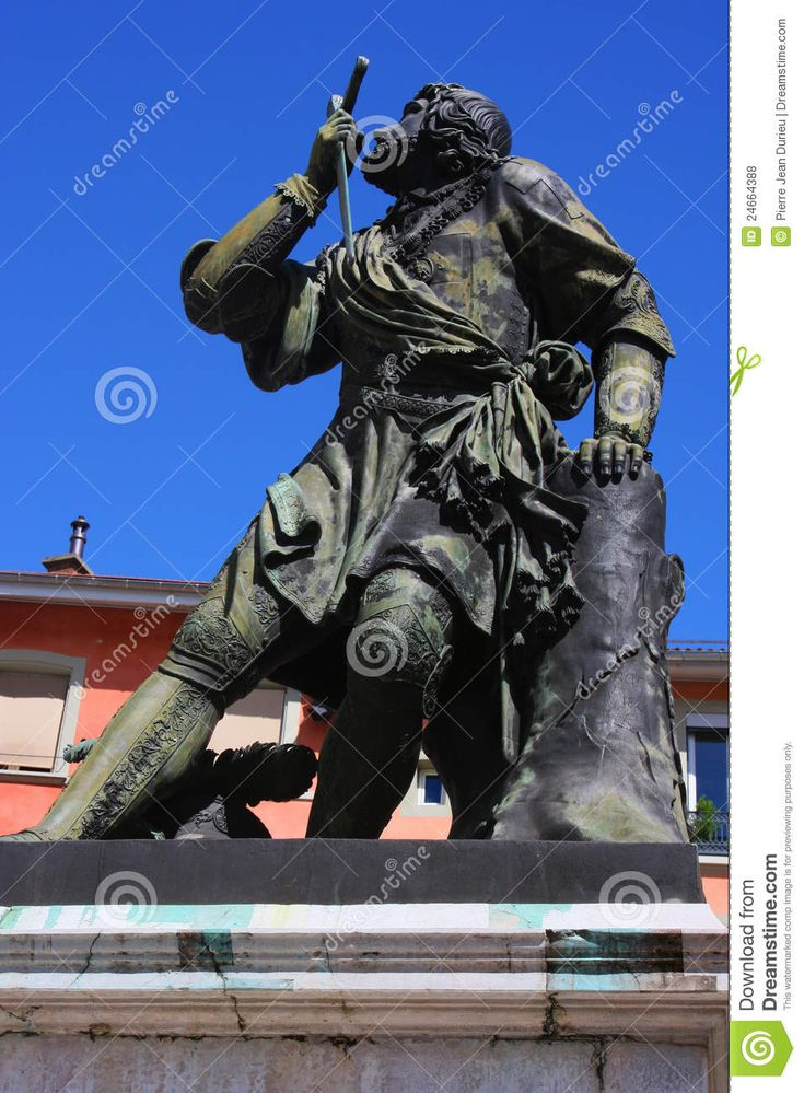 Statue of a French soldier, known as the Chevalier de Bayard, who has been known as the knight without fear and beyond reproach. Description from dreamstime.com. I searched for this on bing.com/images