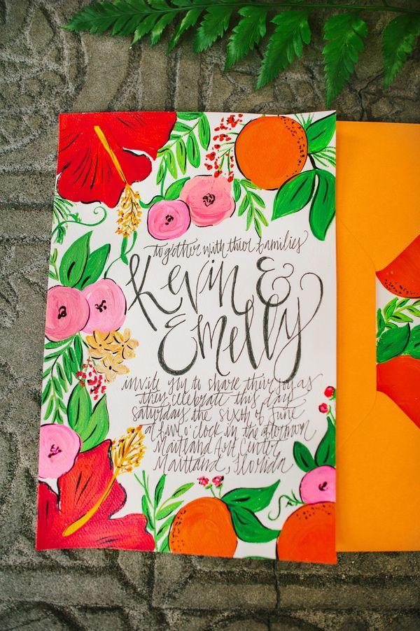 colorful wedding invitations, photo by Best Photography http://ruffledblog.com/florida-spring-wedding-ideas #weddinginvitations #stationery #illustration