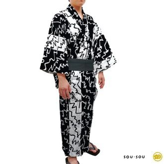 Yukata Lab | Rakuten Global Market: 2015 new SOU-SOU men's yukata 3 pieces (M size) text day or night of black and white (10570730)