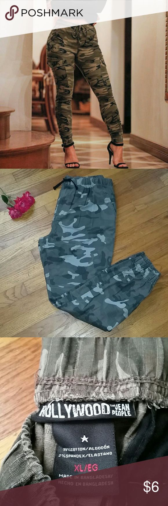 Army Print Joggers! Size XL super cute green army joggers. Hot look right now! Ladies if these fit me I wouldn't sell! You can dress them up or down, however you feel you'll definitely fit the trend! Hollywood  Pants Track Pants & Joggers