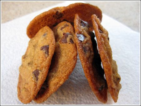 my favorite chocolate chip cookie recipe -- thin, crispy on the edges, chewy in the center, and a littttle bit salty. delicious.