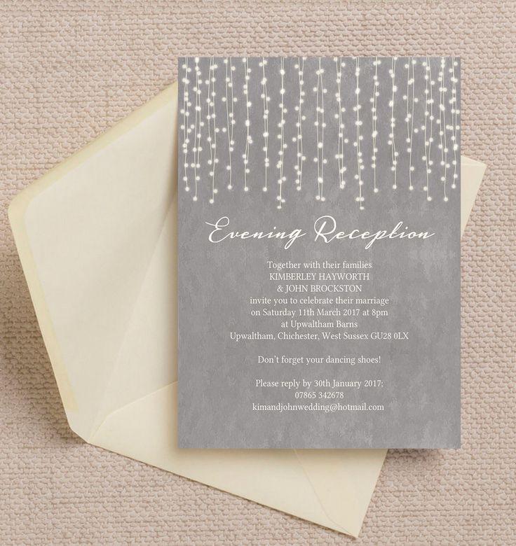 Top 10 Printable Evening Wedding Reception Invitations - Dove Grey Fairy Lights
