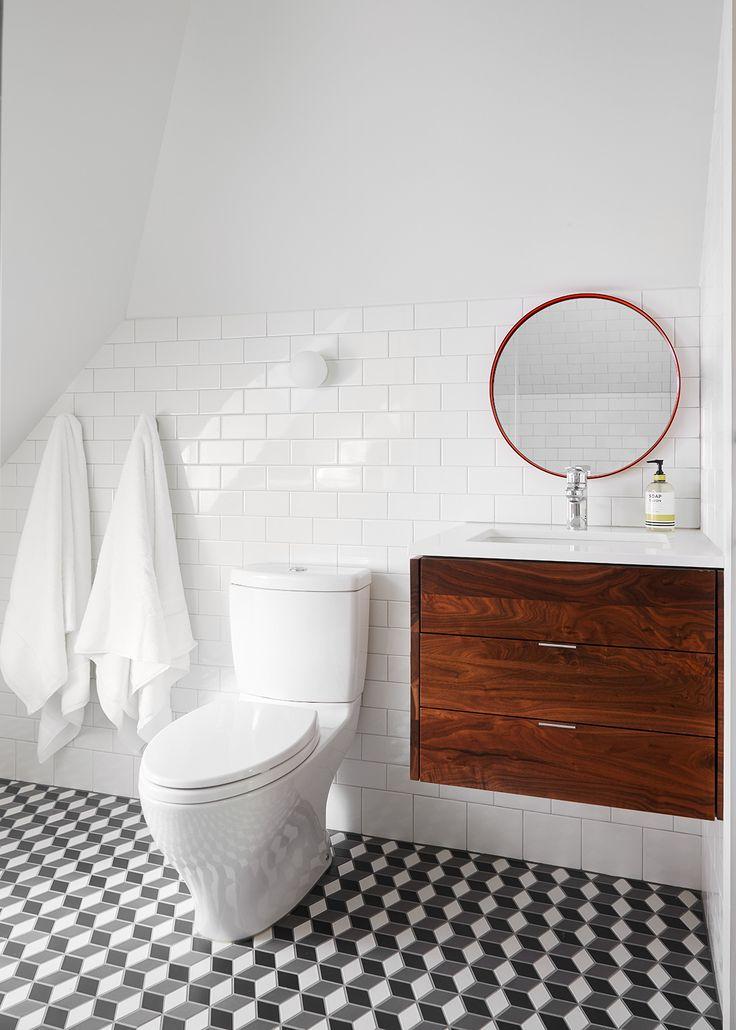 Asbury   2to5 Design Attic bathroom with white subway tile, Heath Ceramics floor tiles and a Schoolhouse Electric mirror.