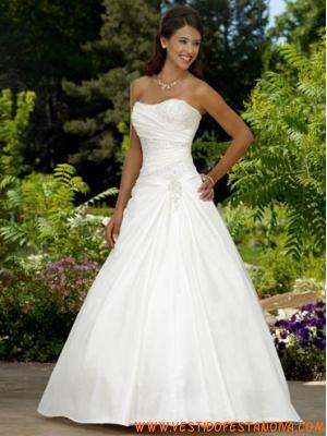 princesa uma linha de vestido de noiva sem mangas de cetim exterior