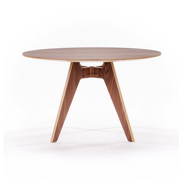 Walnut 4-legged Round Lavitta Table by Poiat