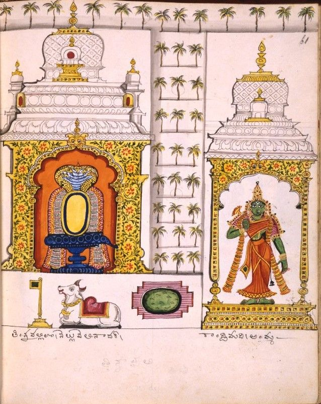 Parvati and lingam in a shrine and Telugu inscription. Plan of the Nellaiappar and Kantimati temples at Tirunelveli. Company School, Thanjavur, c.1830.