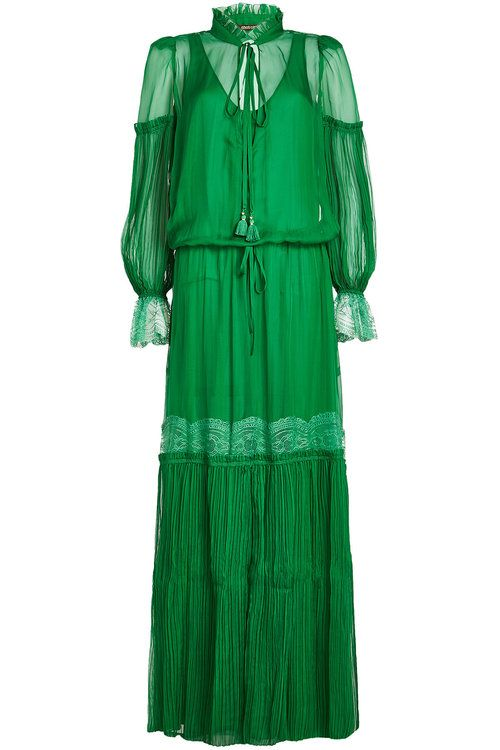 roberto cavalli silk dress with lace and pleats in green modesens