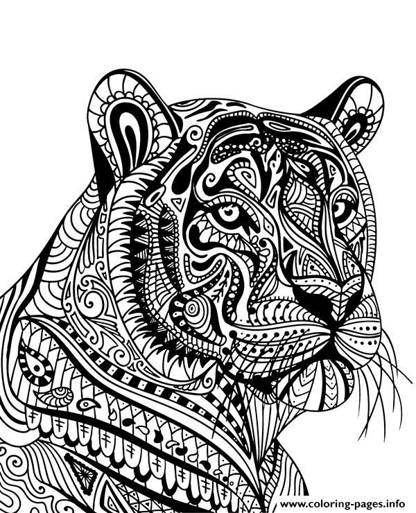 Mandala Tiger Colouring Pages Concept