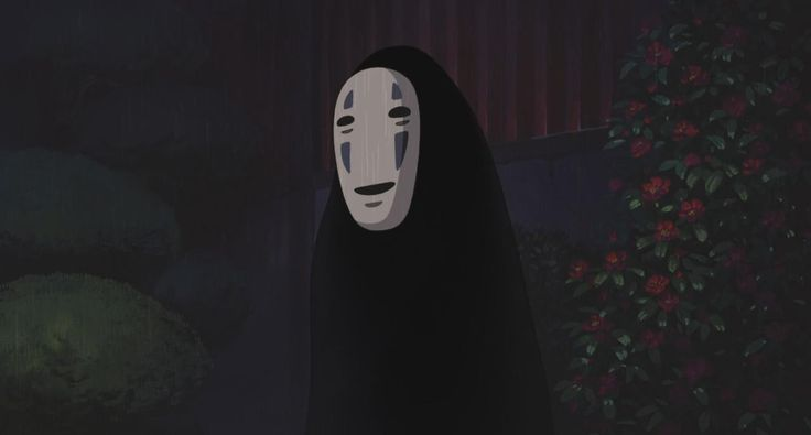 "An image of No-Face in Spirited Away. No-Face is a ghost-like Kami, and at first glance you presume he is evil, but there is no real good or evil in Shintoism and you find out fairly quickly that he's not and just needs the bathhouse in order to cleanse his attitude. In Japanese Mythology he is derived from a legendary creature called ""Nopperabo"" - a faceless spirit."