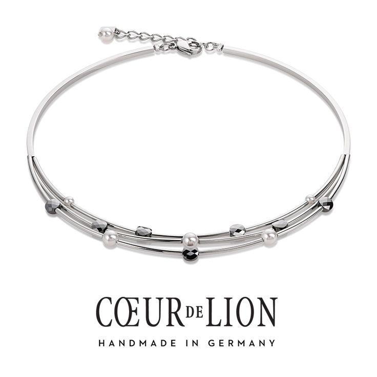 Delicate Coeur de Lion Swarovski & pearl triple strand necklace.