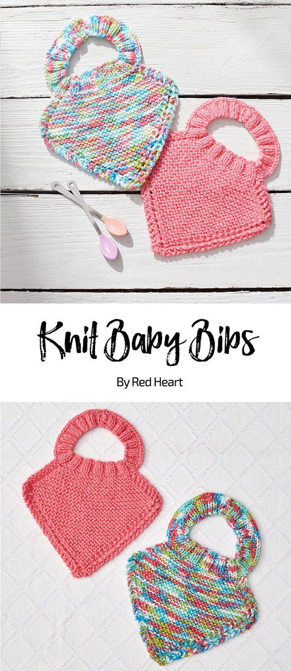 Knit Baby Bibs free knit pattern in Baby Hugs Medium yarn. These colorful knit bibs are appreciated by busy parents! The premium acrylic yarn is completely machine wash and dry and has been Oeko-Tex tested and certified free from harmful levels of over 300 substances.