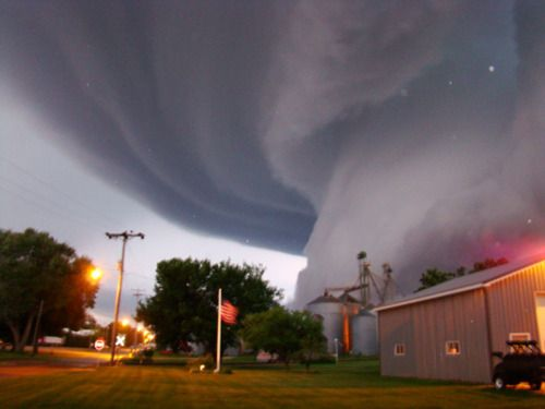 EF-5 tornado in Greensburg, Kansas. Almost looks like a monster mouth and tongue coming out of the sky....