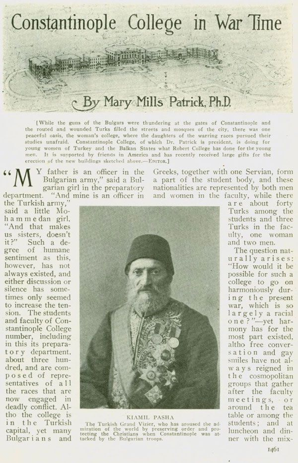 Magazine article on the Constantinople Women's College during the Balkan War