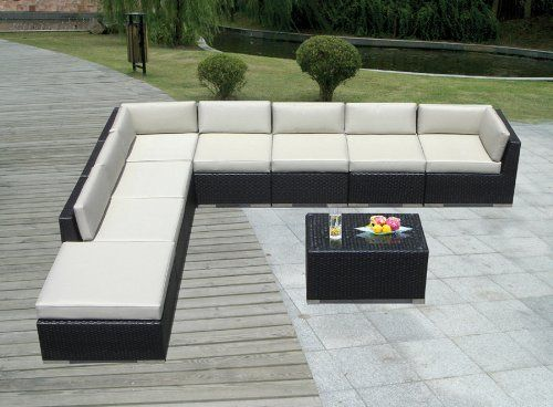 Genuine Ohana Outdoor Patio Sofa Sectional Wicker Furniture 9pc Couch Set  With Free Patio Cover By