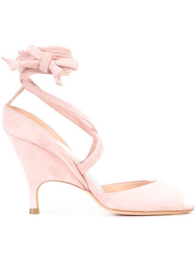 Sandales rose poudré à nouer Alchimia Di Ballin
