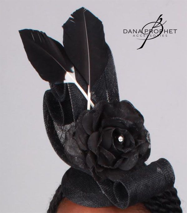 """Lyric"" fascinator in black. Swirls, a flower and feathers show off a striking silhouette. https://danaprophetaccessories.com/fascinators/lyric-in-black/  #fascinator #races #durbanjuly #horserace #southafrica #kentuckyderby #sinamay #flowers #derbyhat #pillbox #headpiece #melbournecup #royalascot #derbyday #Oaksday #accessories #green #Black #blackandwhite #feathers"