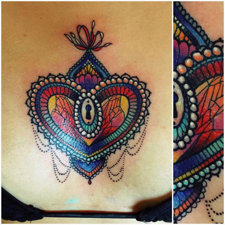 Colorful Heart Locket Tattoo