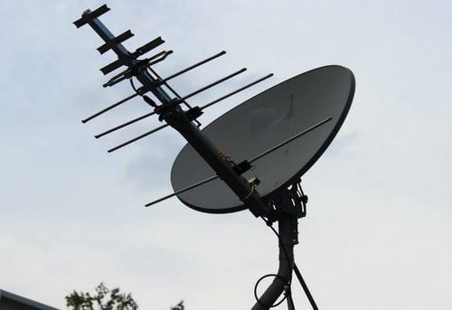 Satellite Dish With HD Antenna Added